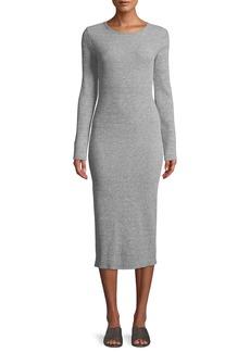 Vince Long-Sleeve Ribbed Knit Crewneck Midi Dress