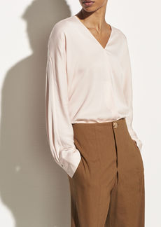 Vince Long Sleeve Satin V-neck Popover