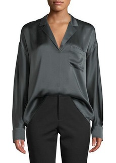 Vince Long-Sleeve Silk Pajama Popover Blouse
