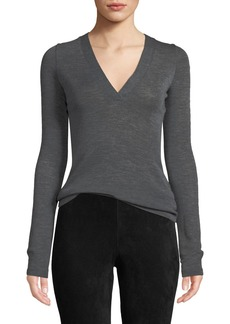 Vince Long-Sleeve Wool V-Neck Top