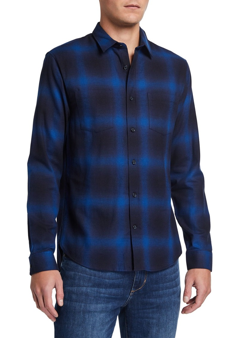 Vince Men's Button-Front Long-Sleeve Shadow Plaid Cotton Shirt