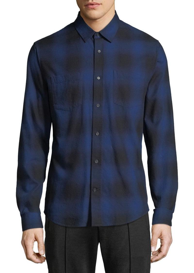 Vince Men's Button-Front Long-Sleeve Shadow Plaid Cotton Shirt