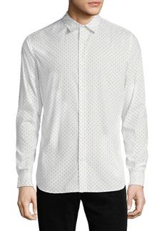 Vince Men's Button-Front Long-Sleeve Sphere-Print Cotton Shirt