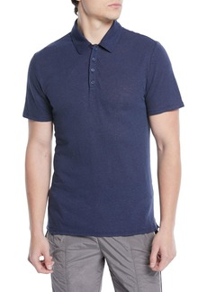 Vince Men's Heathered Linen/Cotton Knit Polo Shirt