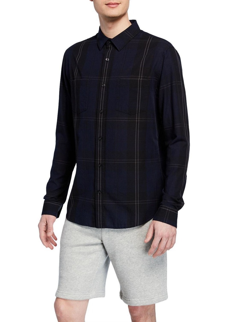 Vince Men's Linen-Blend Plaid Sport Shirt