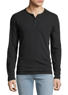 Vince Men's Long-Sleeve Raw Edge Henley Shirt