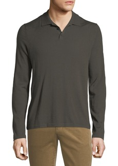 Vince Men's Long-Sleeve Wool/Cashmere Polo Shirt