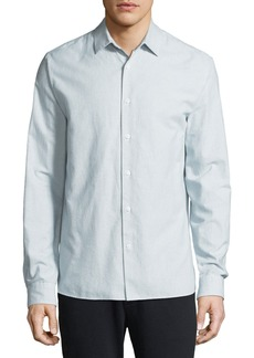 Vince Men's Micro-Stripe Long-Sleeve Button-Front Cotton Shirt