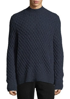 Vince Men's Mock-Neck Honeycomb Knit Wool-Blend Sweater