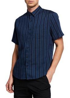 Vince Men's Multi Stripe Short-Sleeve Shirt