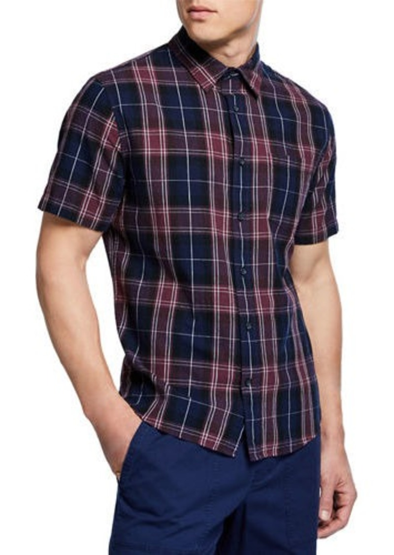 Vince Men's Plaid Linen Short-Sleeve Sport Shirt