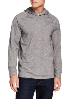 Vince Men's Po Heathered Knit Hoodie Sweater