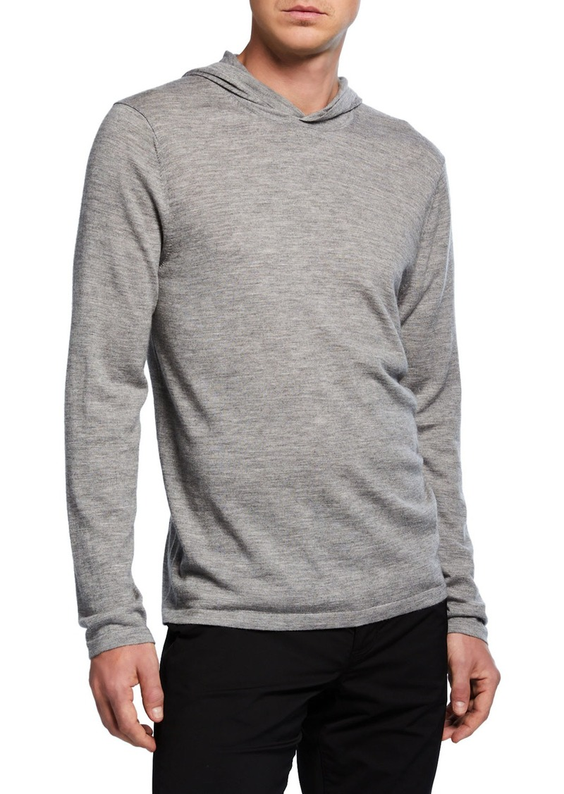 Vince Men's Po Wool-Cashmere Hoodie Sweater