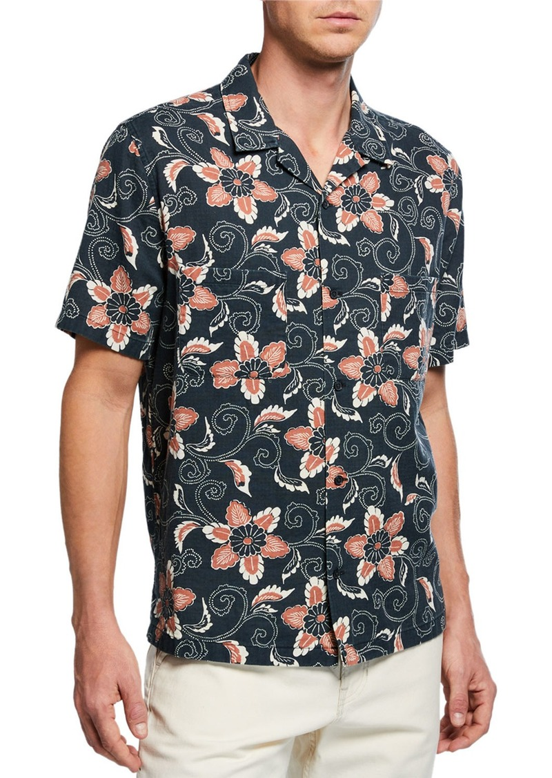 Vince Men's Short-Sleeve Double Face Floral Shirt