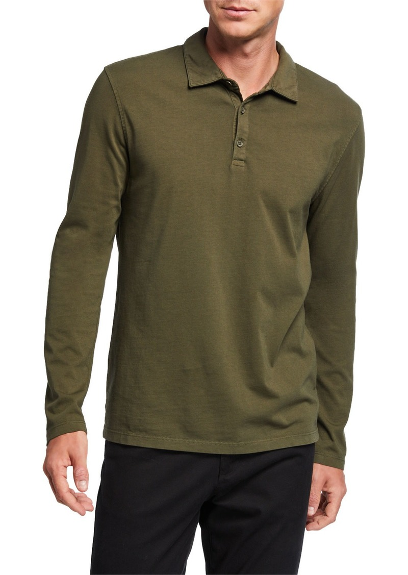Vince Men's Solid Long-Sleeve Polo Shirt