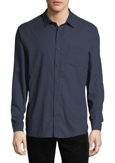 Vince Men's Square-Print Button-Down Shirt