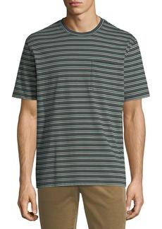 Vince Men's Striped Crewneck Pocket T-Shirt