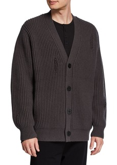 Vince Men's V-Neck Button-Front Distressed Rib Cardigan