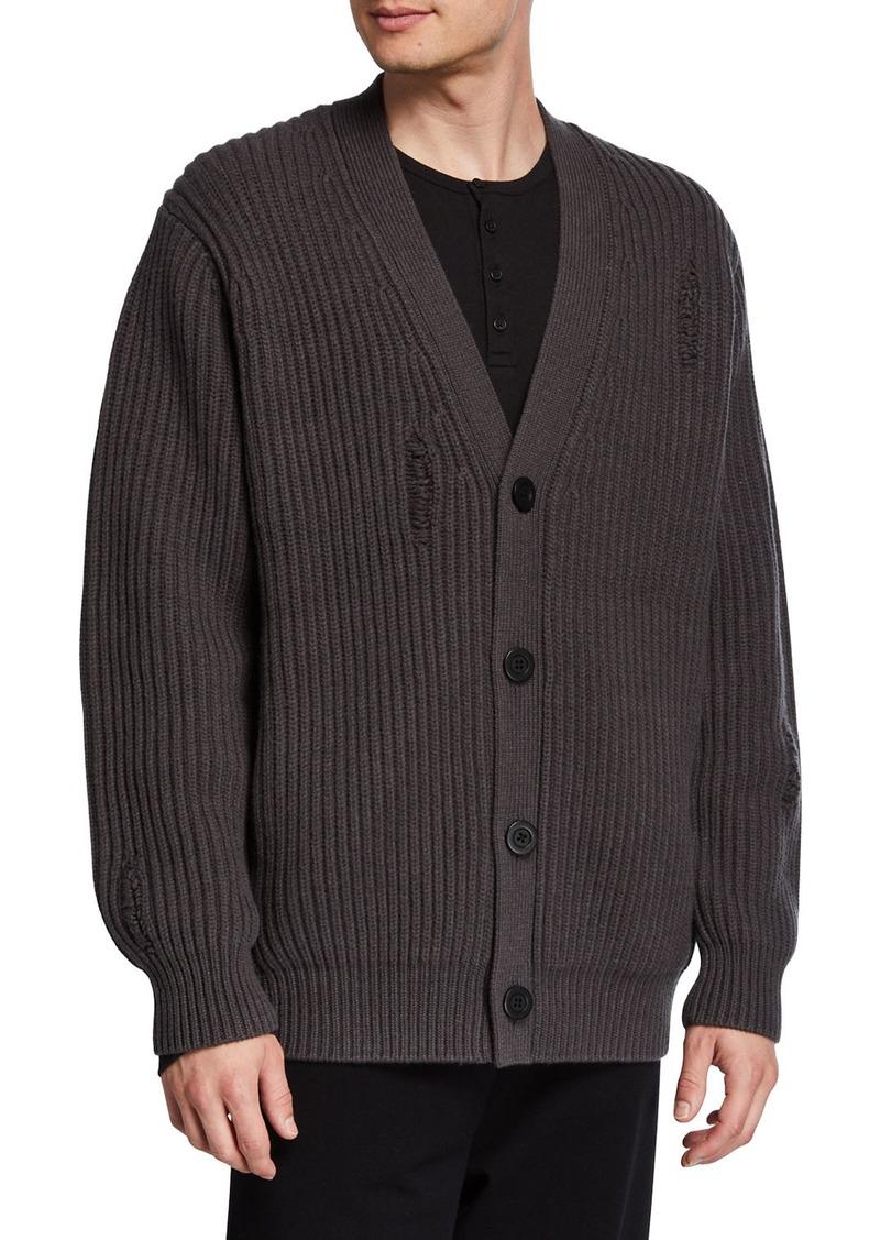 Vince Men's V-Neck Button-Front Distressed Rib Cardigan