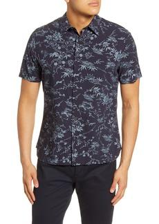 Men's Vince Batik Slim Fit Floral Short Sleeve Button-Up Shirt