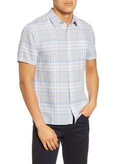 Men's Vince Batik Slim Fit Plaid Short Sleeve Linen Button-Up Shirt