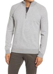 Men's Vince Bird's Eye Quarter Zip Wool & Cashmere Sweater