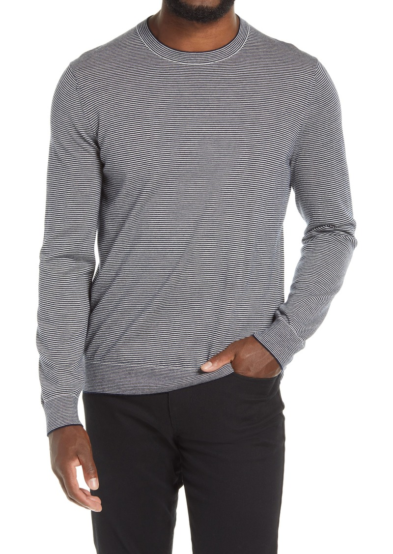 Men's Vince Men's Regular Fit Crewneck Pinstripe Wool & Cashmere Sweater
