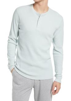 Men's Vince Plaid Long Sleeve Pima Cotton Blend Henley Top