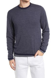Men's Vince Regular Fit Double Layer Stripe Crew Pullover