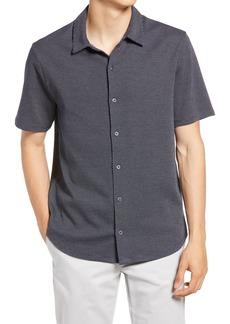 Men's Vince Regular Fit Patterned Short Sleeve Jacquard Knit Button-Front Shirt