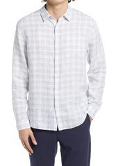 Vince Regular Fit Plaid Button-Up Linen Shirt