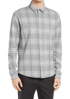 Men's Vince Regular Fit Plaid Slub Cotton & Linen Button-Up Shirt