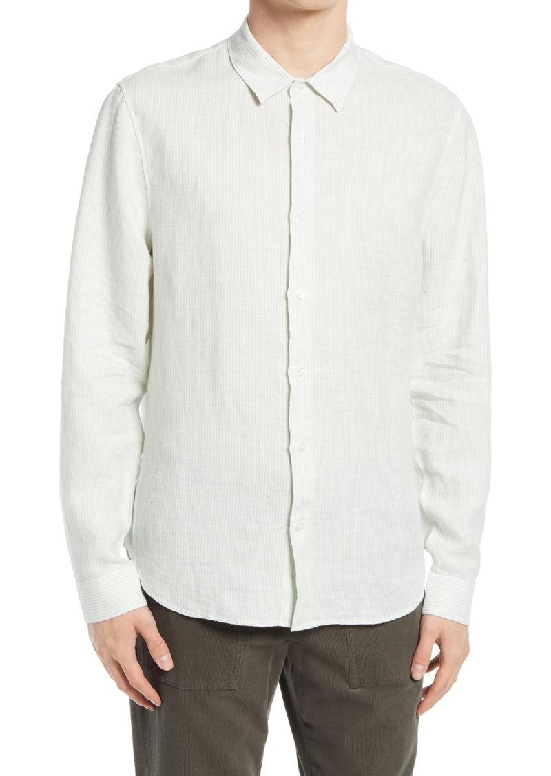 Men's Vince Stripe Linen Button-Down Shirt