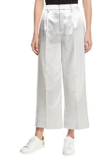 Vince Metallic Cropped Wide-Leg Pants