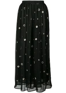 Vince metallic embroidered midi skirt