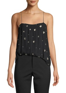 Vince Metallic Embroidered Silk Cami