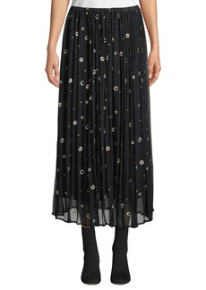 Vince Metallic Embroidered Silk Long Skirt