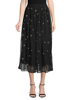 Vince Metallic Embroidery Silk Skirt