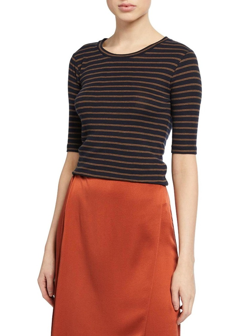 Vince Micro Double-Stripe Crewneck Elbow-Sleeve Tee