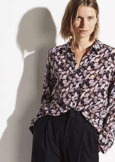 Vince Micro Painted Floral Silk Blouse