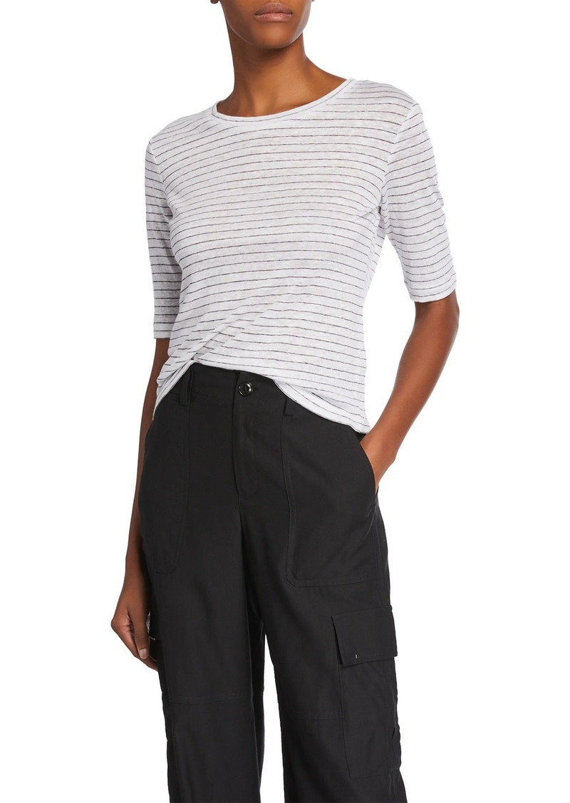 Vince Micro-Stripe Elbow-Sleeve Crewneck T-Shirt