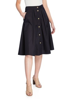 Vince Midi Button-Front A-Line Cotton Skirt