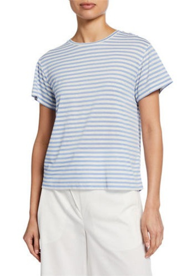 Vince Midi Stripe Crewneck Short-Sleeve T-Shirt