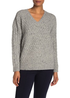 Vince V-Neck Cable Knit Wool Blend Sweater