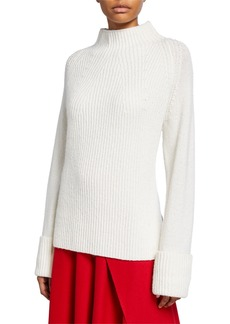 Vince Mix Stitch Funnel-Neck Wool Sweater