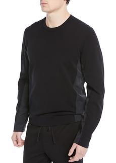 Vince Mixed-Media Cotton Crewneck Sweater