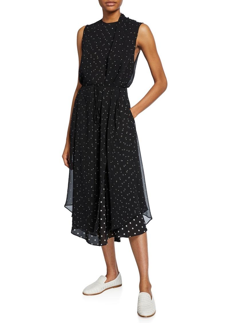 Vince Mixed-Media Dot-Print Sleeveless Midi Dress