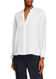 Vince Mixed-Media Long-Sleeve Blouse
