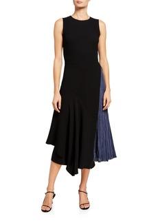 Vince Mixed Panel Sleeveless Midi Dress