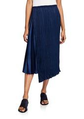 Vince Mixed-Pleat Asymmetric Maxi Skirt